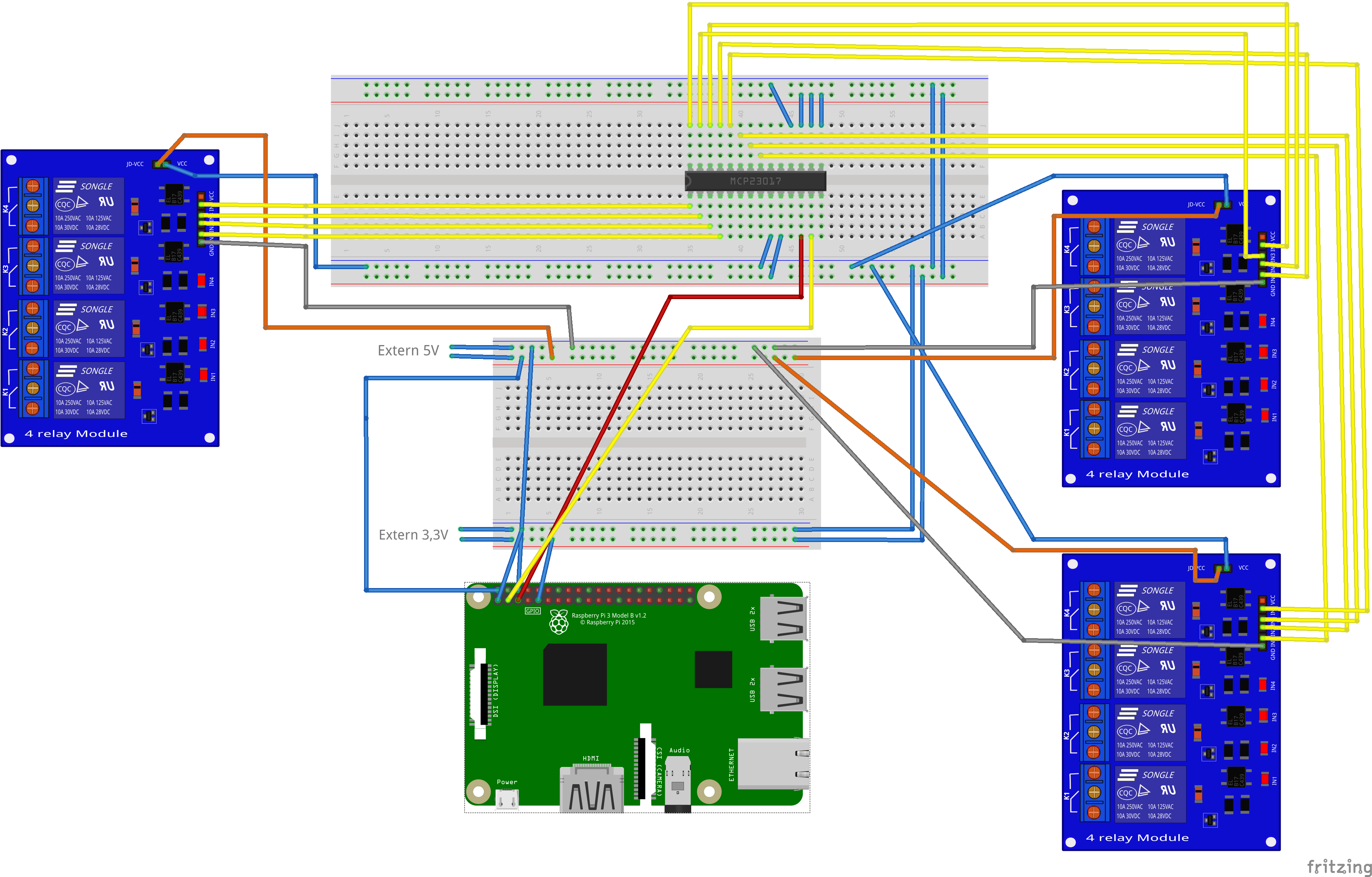 Raspberry Pi With I2c Port Expander Mcp23017 16 Relay Switching It Wiringpi Functions
