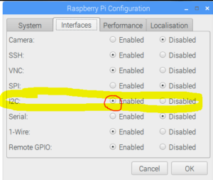 Raspberry Pi I2C Enable