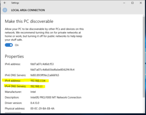 Windows 10 find out network address